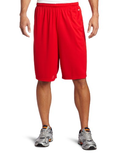 Soffe Men's Extra Long Poly Closed Hole Mesh Short Red X-Lar