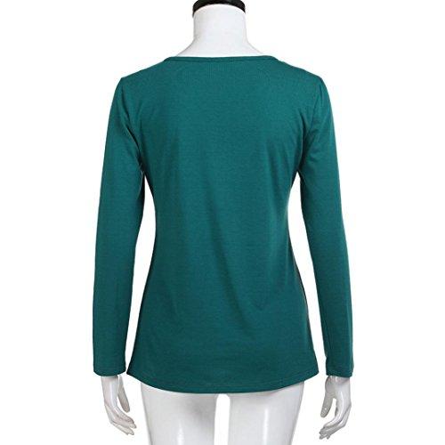 manga Verde topas XL para cruzado mujer V vendaje OverDose S blusas camisetas larga en cuello PwTZ6Eq