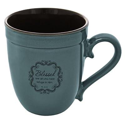 "Blue ""Blessed"" Inspirational Mug - Psalm 2:12"