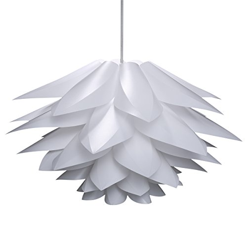 Lampwin Ceiling Pendant Lights DIY IQ Jigsaw Puzzle Lotus Flower Lamp Shade Kit Chandelier 53CM/21Inch Diameter (White) - Head Shaped Pendant