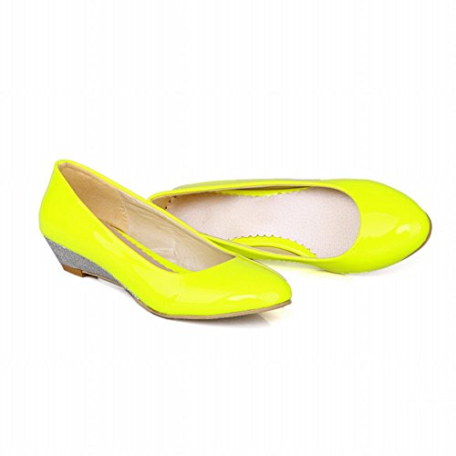 Pumps Shoes Yellow Heel Wedge Cute Sweet Low Carol Women's Shoes anq0wSO7