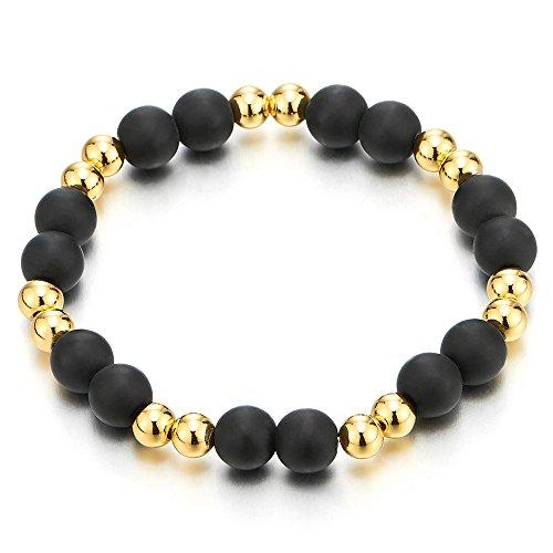Mens Womens Matt Black Onyx Beads Bracelet with Small Gold Color Beads, Prayer - Gold Bracelets Black Strand