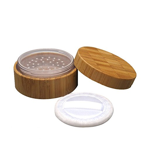 1PCS 30G(30ML)/1oz Empty Environmental Bamboo Appearance Loose Powder Cosmetic Jars Makeup Storage Case Box Holder Container with Plastic Sifter and Sponge Puff Baby Powder Puff Kit DIY Beauty ()