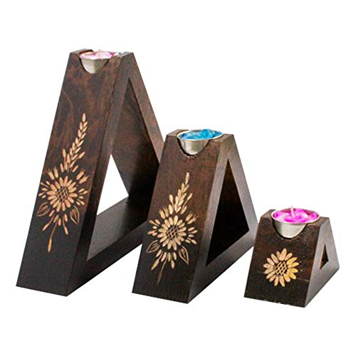 Tribal Flower Sun Hand Graved Handicraft Design On Mango Wood Triangle Candle Holders Set Of 3 Tea Light Candle Holder Wooden Candleholders Set Of 3 Pillar Candle Holders Home Decor Gifts Office Decor