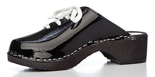 Clogs Leather Pu Swedish 4 Uk Swe Original Black Clogs Patent 1aWqxxtPn