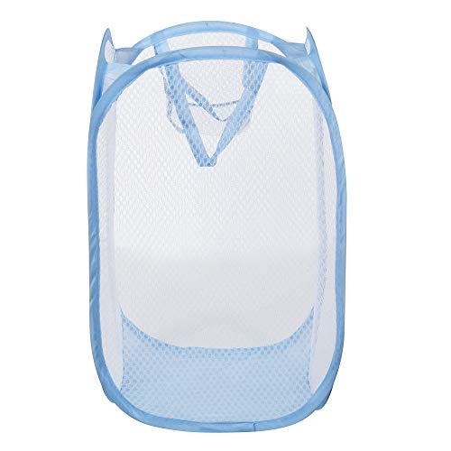 Dressin Storage Tools,Foldable Pop Up Washing Laundry Basket Bag Hamper Mesh Storage Pueple BU Blue