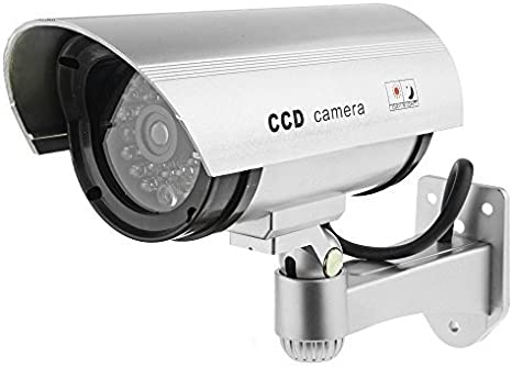 Silver by TARGARIAN Premium Fake//Dummy CCTV Security Camera with Flashing LED light Indoor Outdoor