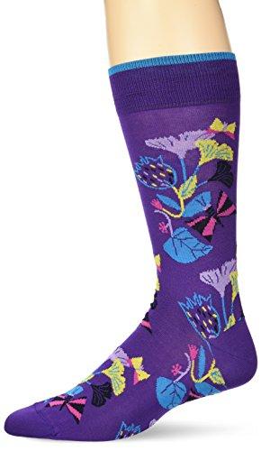 BUGATCHI Men's Fashion Mercerized Flowers Pattern Sock, grape ()
