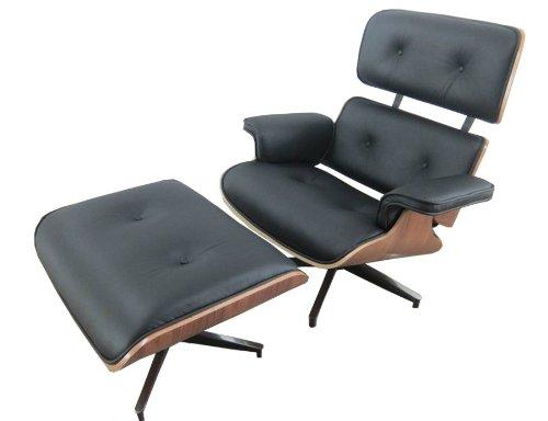 RetroMod Angus Lounge Walnut Chair with Ottoman, Black