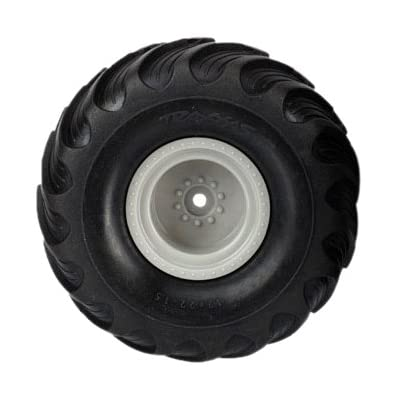 """Traxxas 7265 Dual-Profile (1.5"""" outer, 2.2"""" inner) Monster Truck Tires Pre-Glued on Grey Wheels (pair): Toys & Games"""