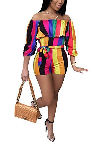 Rompers and Jumpsuits for Women Shorts - Off Shoulder Ruffle Rainbow Striped Long Puff Sleeve Tie Waist Playsuit Outfit Colorful Stripe, Small (Short Stripe Waist)
