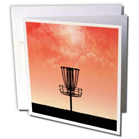 3dRose Perkins Designs - Disc Golf - Silhouette of Frisbee disc Golf Basket with Orange Colored Sky and Clouds - 12 Greeting Cards with envelopes (gc_292653_2)
