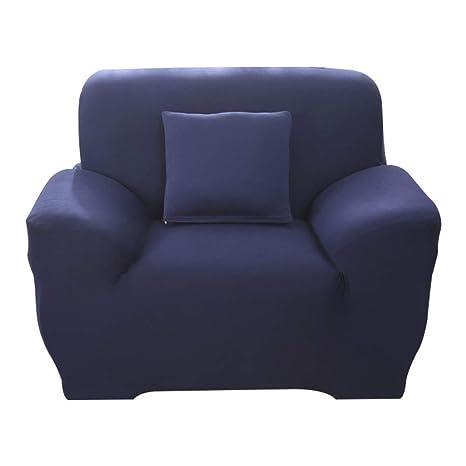 Hotniu Funda Elástica de Sofá Funda de Color Liso para sofá Antideslizante Protector Cubierta de Moda (Una Plaza, Marino)