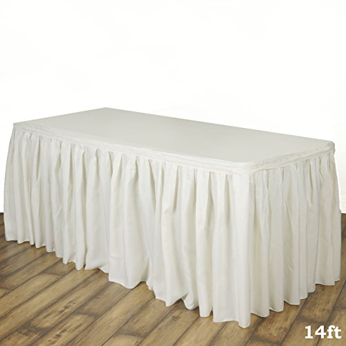 - LinenTablecloth 14 ft. Accordion Pleat Polyester Table Skirt Ivory