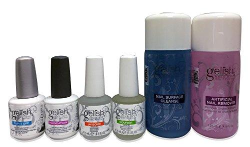Gelish Full Size Gel Nail Polish Basix Care Kit (15ml) + Remover & Cleanser (Gelish Led Light Kit)