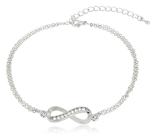 Silvertone Infinity Adjustable Charm Anklet with Stones (J-898) by JOTW