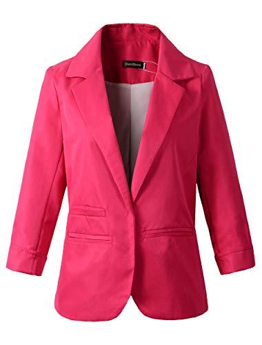 Women's Boyfriend Blazer Tailored Suit Coat Jacket (TG-503 Hot Pink, L) ()