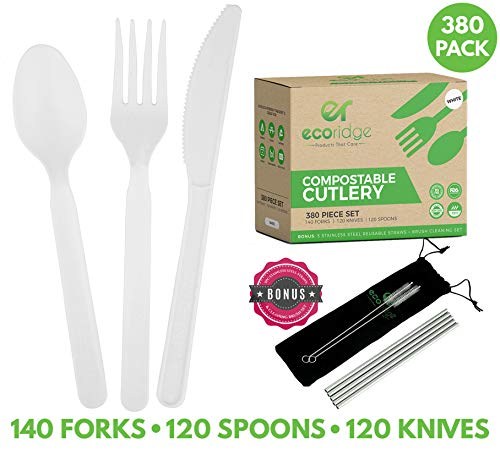 100% Compostable Utensils Disposable Cutlery - 380 Piece - Disposable Forks Spoons Knives Compostable Silverware - Non GMO BPA Free Disposable Utensils, Compostable Party Supplies Non Plastic Cutlery