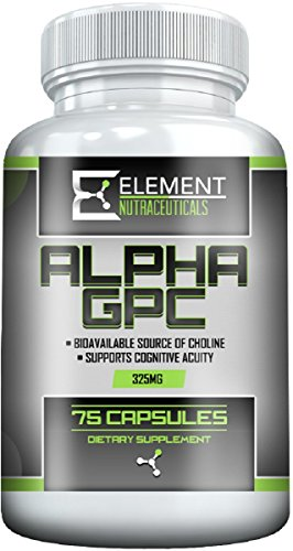 ALPHA GPC (325mg x 75ct) by Element Nutraceuticals Boost Cognitive Function , Mental Clarity and Focus.
