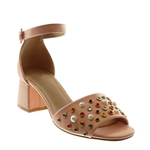 Angkorly Damen Schuhe Sandalen Pumpe - Knöchelriemen - String Tanga - Schmuck - Perle Blockabsatz High Heel 6 cm Rosa