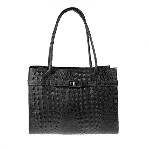 OBC Only-Beautiful-Couture - Bolso de asas para mujer Negro Schwarz (Kroko) ca.: 35x26x12 cm (BxHxT) Schwarz (Kroko)