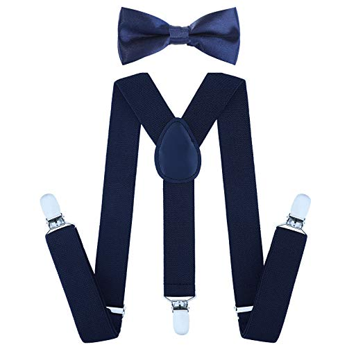 Child Kids Suspenders Bowtie Set - Adjustable Suspender Set for Boys and Girls (30Inches(6 Years to 5 Feet Tall),Navy blue)