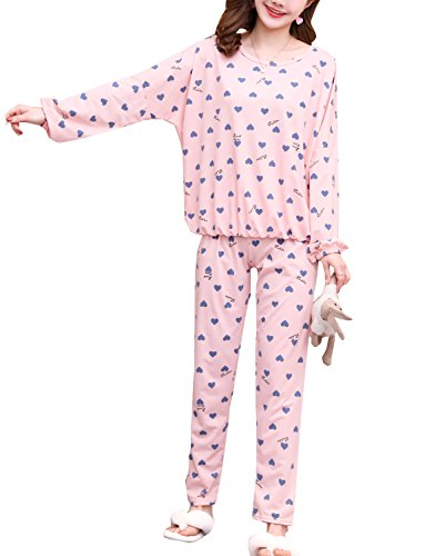 Big Girls' Comfy Soft Sweet Heart Lace Trim Pajama Set 2Pieces(8y-18y) by Leisure Home