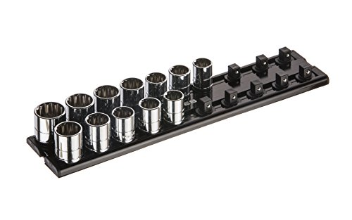 ARES 70179 | 3/8-Inch Drive Magnetic Socket Organizer | Aluminum Rack Stores up to 20 Sockets and Keeps Your Tool Box Organized