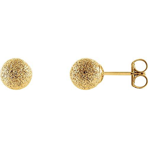 14K Yellow Gold 6mm Stardust Ball Stud Earrings 6 Mm Stardust Ball