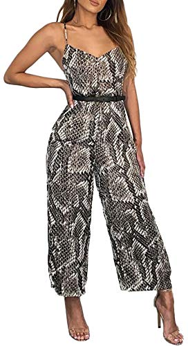 JINTING Snake Print Jumpsuits for Women Spaghetti Strap V Neck Sleeveless Sexy Party Club Pants Jumpsuit Romper Black