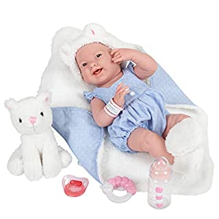 """JC Toys La Newborn All-Vinyl-Anatomically Correct Real Girl 15"""" Baby Doll in Blue and Deluxe Accessories, Designed by Berenguer., Blue/White"""