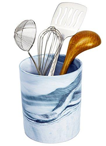 New Ceramic Planter (Porcelain Kitchen Utensil Crock - Ceramic Planter Flower Pot - Sky Blue Decorative Marble Food, Art and Office Supplies Holder - Vegetable Storage - by Marbelous)