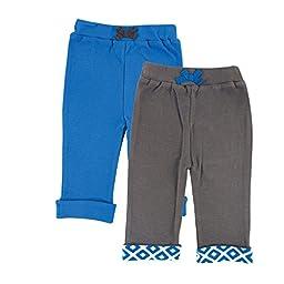 Yoga Sprout Baby-Boys Yoga Pants Elephant, Blue Elephant, 6-9 Months (Pack of 2)