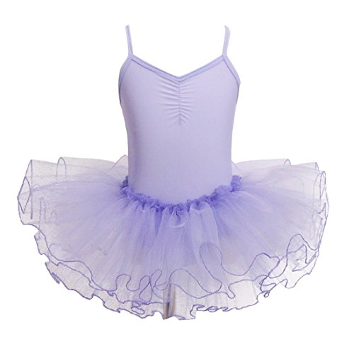[FEESHOW Girls' Camisole Leotard Ballet Dress Tutu Skirt Ballerina Dance Costumes Lavender 2-3] (Ballerina Costumes For Toddler)