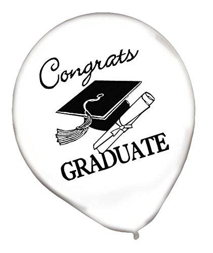 Graduation Balloons Gold/Silver/Black/White - 12