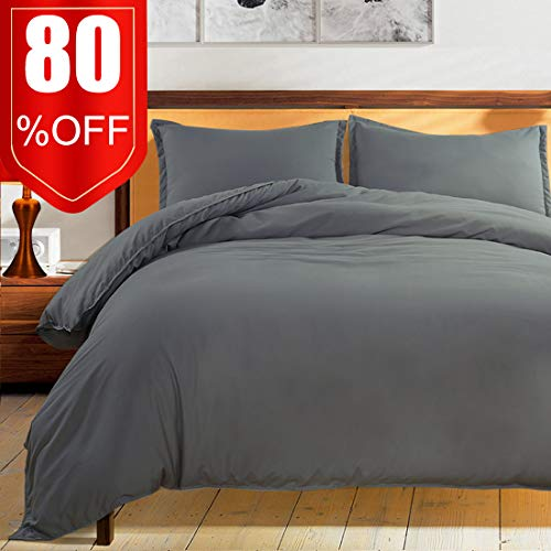 Bedding Duvet Cover Set Premium with Zipper Closure Hotel Quality Hypoallergenic Wrinkle and Fade Resistant Ultra Soft -3 Piece-1 Soft Microfiber Duvet Cover Matching 2 Pillow Shams (Grey, king)