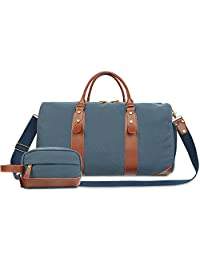"""Oflamn 21"""" Large Duffle Bag Canvas Leather Weekender Overnight Travel Carry On Bag - Free Toiletries Bag"""