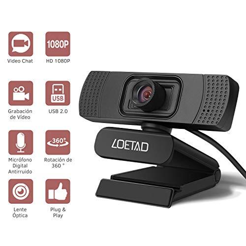 🥇 LOETAD Cámara Web Webcam 1080P Full HD con Micrófono Estéreo para Video Chat y Grabación Compatible con Windows