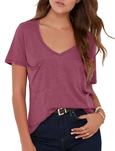 (VIISHOW Women's Short Sleeve Scoop Neck Side Pocket Tunic Top)