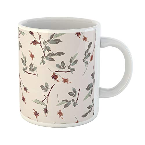 (Emvency Funny Coffee Mug Green Flower Romantic Leafy Rosebud Pattern Design Cream Off White Red Liberty 11 Oz Ceramic Coffee Mug Tea Cup Best Gift Or Souvenir)