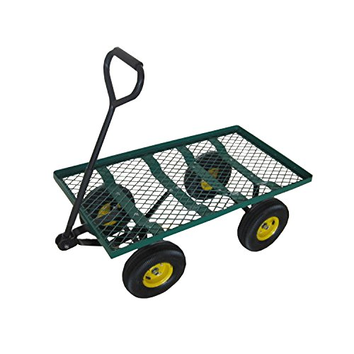 ALEKO TC4211 Heavy Duty Garden Cart Wagon Carrier Wheel Barrow Air Tires with Padded Pull Handle 38 x 18 x 20 Inches Green