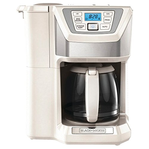 (BLACK+DECKER CM5000WD 12-Cup Mill and Brew Coffeemaker, White/Silver)