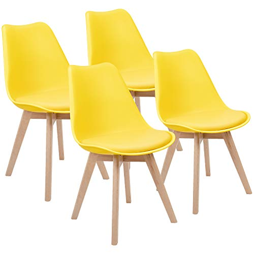 Furmax Mid Century Modern DSW Dining Chair Upholstered Side Chair with Beech Wood Legs and Soft Padded Shell Tulip Chair for Dining Room Living Room Bedroom Kitchen Set of 4 (Yellow) (Set Beechwood Bedroom)