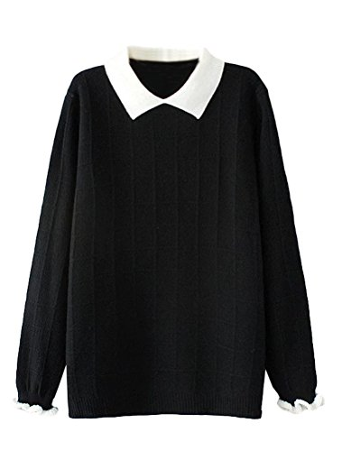 Minibee Women's Pan Collar Knitted Sweater Casual Pullover Sweatshirt Style1 Black M