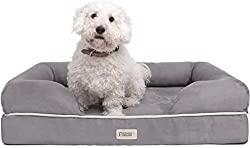 "Premium Bolster Orthopedic Dog Bed Small Size with 2.6"" Mattress Grade Memory Foam Base, 100% Suede Removable Cover, Washable Pet Beds For Puppy to Medium Dogs & Cat, 20"" X 25"" X 5"", Pewter Grey"