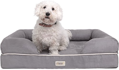 Premium Bolster Orthopedic Dog Bed Small Size with 2.6'' Mattress Grade Memory Foam Base, 100% Suede Removable Cover, Washable Pet Beds For Puppy to Medium Dogs & Cat, 20'' X 25'' X 5'', Pewter Grey by Friends Forever