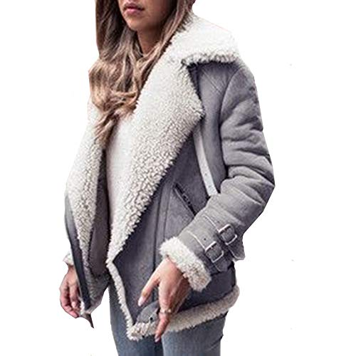 Allonly Women's Stylish Lapel Sheepskin Suede Leather Cashmere Shearling Oversize Coat Warm Moto Jacket