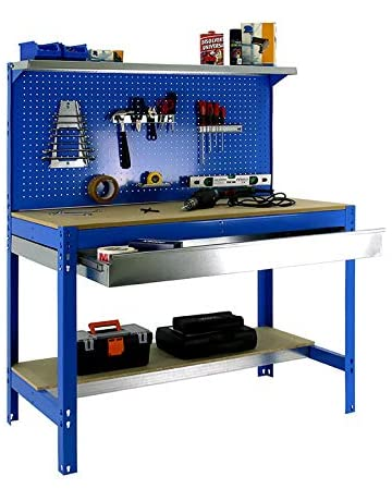 Banco de trabajo BT3 con cajón Simonwork Azul/Madera Simonrack 1445x1210x610 mms - Mesa de