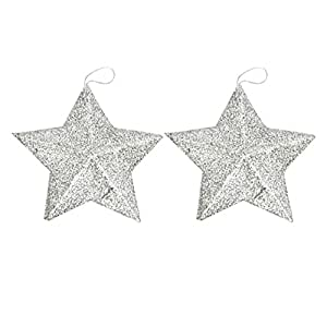 Deercon (Pack of 12) Glitter Stars Christmas Tree Decoration Xmas Party Hanging Ornament(Silver)