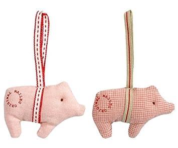 Maileg 2er Set Christbaumschmuck Schweinchen Aus Stoff Amazon De